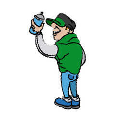 Cartoon young guy graffiti with spray paint vector