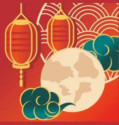 chinese lanterns moon and clouds vector image