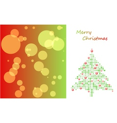 christmas card with tree of ball and background vector image