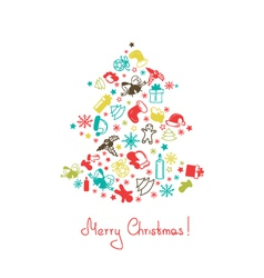 Christmas tree made of elements vector image
