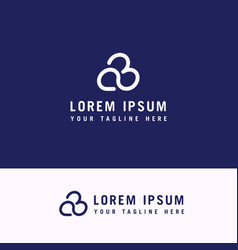 cloud line letter font b logo design vector image