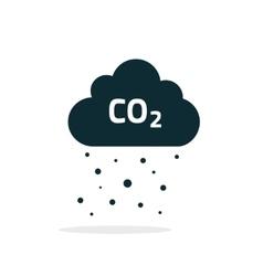 co2 emissions cloud icon black carbon vector image