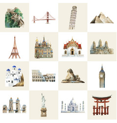 Collection architectural landmarks painted vector