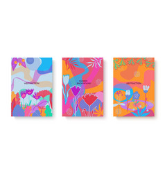colorful set abstract cards with flat vector image