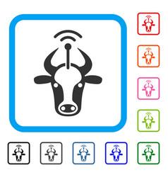 Cow radio transmitter framed icon vector