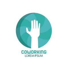 Coworking hand symbol vector