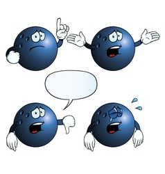 Crying bowling ball set vector image
