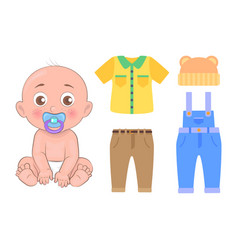 cute baby and clothing set isolated on white card vector image