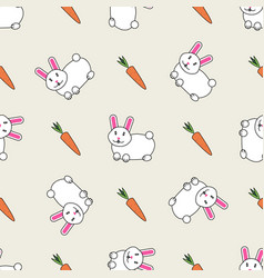 cute bunny rabbit with carrot seamless background vector image