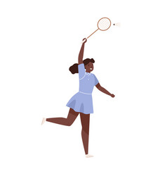 dark skin female badminton player jumping hitting vector image