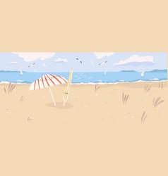deserted sandy beach landscape summertime scenery vector image
