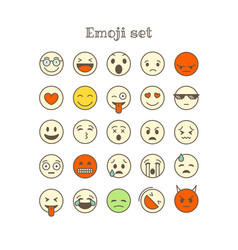 Different thin line color icons set emoji vector