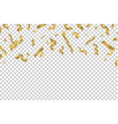 falling gold ribbons golden confetti isolated on vector image