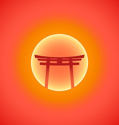 Flat abstract japan gate blazing sunset sun icon vector