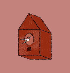 Flat shading style icon bird house vector