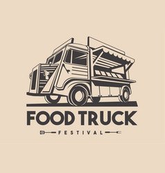 Food truck restaurant delivery service logo vector
