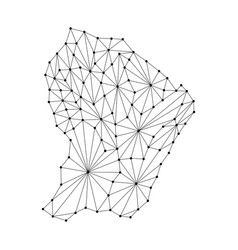 French guiana map of polygonal mosaic lines vector