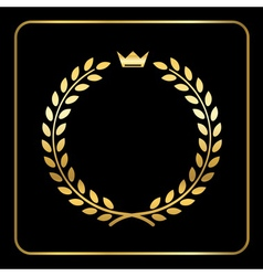 Gold laurel wheat wreath icon crown vector