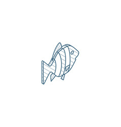 Goldfish isometric icon 3d line art technical vector