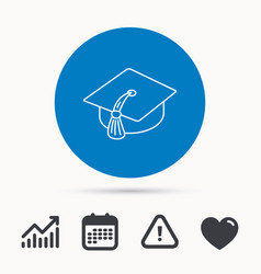 Graduation cap icon diploma ceremony sign vector