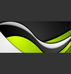 Green black grey abstract wavy corporate banner vector
