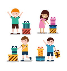 Group of kids with nicely wrapped gift boxes vector
