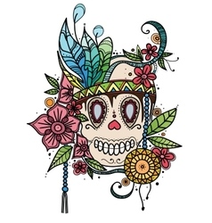 Hand drawn color skull in flowers and vector image