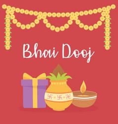 happy bhai dooj gift food light flowers vector image