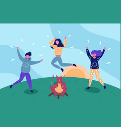 happy friends having fun outdoors vector image