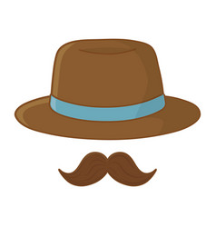 hat and moustache vector image