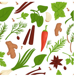 herbs and spices seamless pattern organic vector image