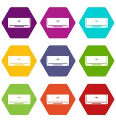 Internal unit air conditioner icon set color vector