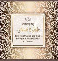 Intricate baroque luxury wedding invitation card vector