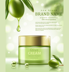 jar olive cream on green background element vector image