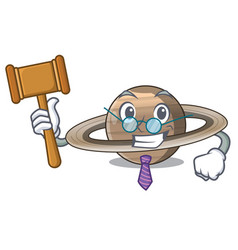 Judge planet saturn above the sky cartoon vector