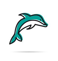 Line icon - jumping dolphin vector