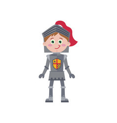 Little knight in iron armor character vector