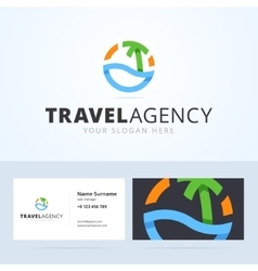 Logo and business card template for travel agency vector