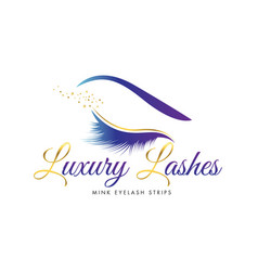 Luxury beauty eye lashes logo vector
