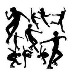 Male ice skating silhouettes vector