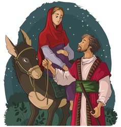 mary and joseph travelling by donkey to bethlehem vector image