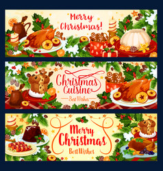 Merry christmas dinner greeting banners vector