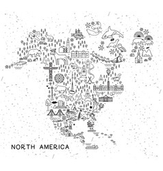north america travel line icons map travel poster vector image