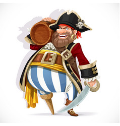 Old pirate with a wooden leg holding a keg rum vector