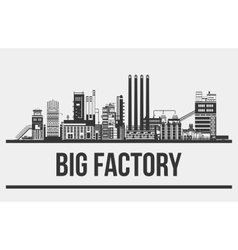 Outline of giant manufactory or plant factory or vector image