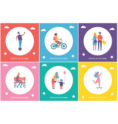 People resting in park cartoon banner set vector