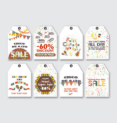 Price sale tags set for the mexican holiday cinco vector