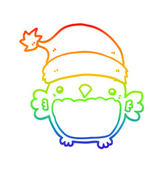 Rainbow gradient line drawing cute christmas owl vector