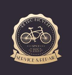 retro bicycle service and repair vintage logo vector image