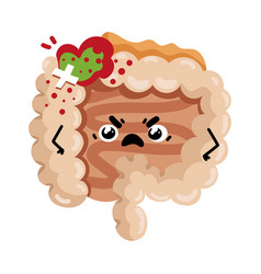 sad sick intestine cartoon character vector image